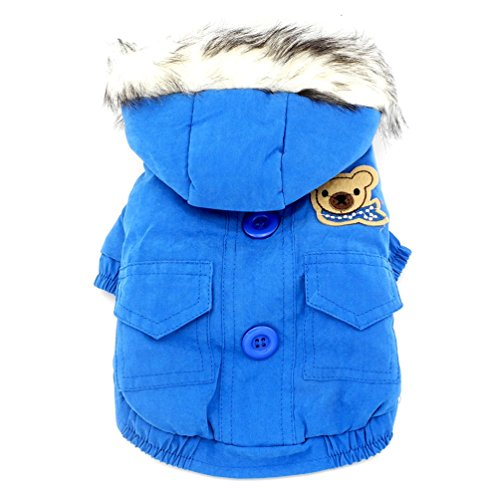 SMALLLEE_LUCKY_STORE  Thick Cotton-padded Dog Coat Winter Hooded Scarf Bear Patch, Blue, X-Large - Fido Fleece Coats