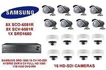 SAMSUNG SRD-1680 16 CH HD-SDI HYBRID DVR 1TB HDD WITH16 HD-SDI CAMERAS 8X SC0-6081R AND 8X SCV-6081R