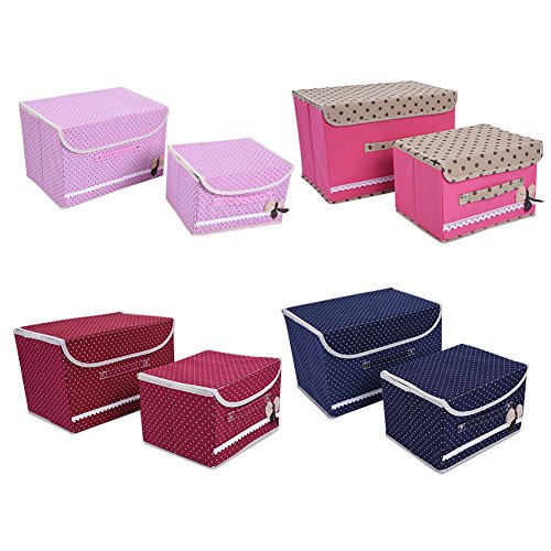 2Pcs Non-woven Desk Storage Boxes Colthes Holder Organizer Case Bag Home Decor (Providence Border Rugs)