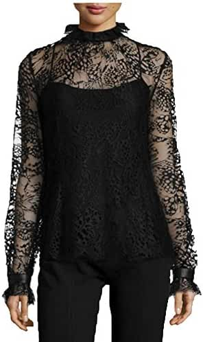 Angel&Lily Lace Turtleneck scalloped cuffs party top Blouse plus 1x-10x