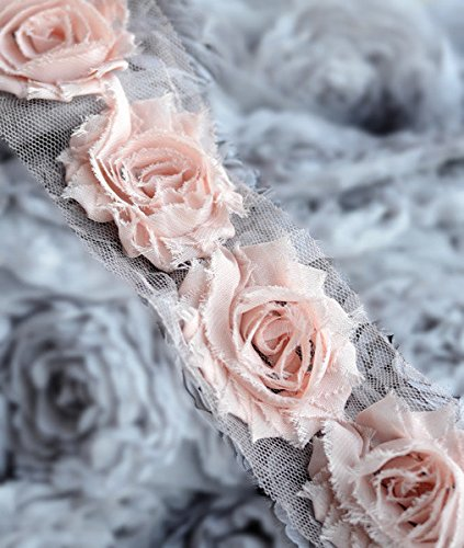 5 Yard Shabby Rose Trim 70 Shabby Flowers Shabby Frayed Chiffon Flowers Peach Pink Wedding Bridal Hair Accessory Headband LA067
