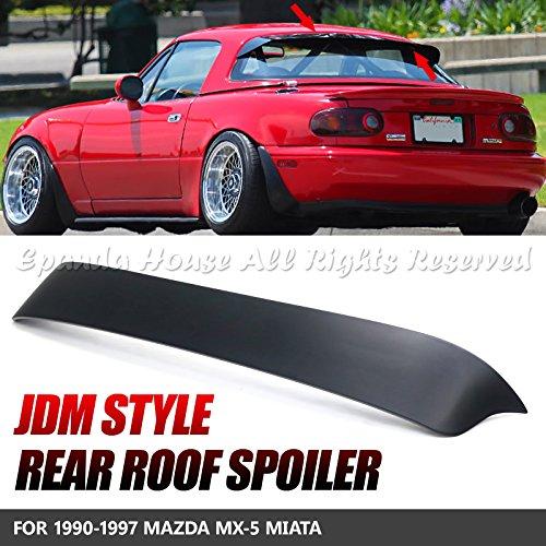 EpandaHouse For 90-97 Mazda Miata MX-5 Hardtop Black Primer ABS JDM Rear Window Roof Visor Spoiler Body Kit USA