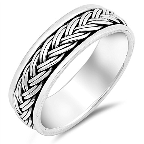 Spinner Rope Knot Design Ring New .925 Sterling Silver Wedding Band Sizes 7-13