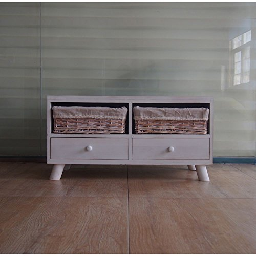 The Urban Port C203-123102 Antique Classic Washed White Wood Cabinet by Urban Port - White Poplar Cabinet