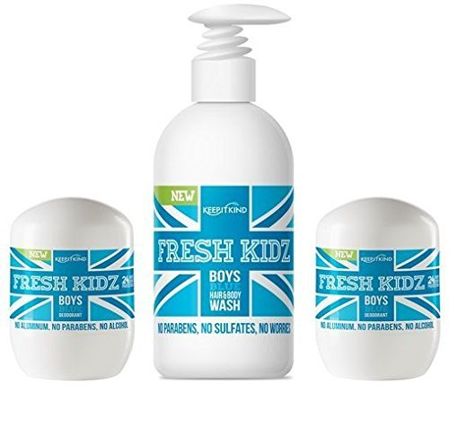 Keep it Kind Fresh Kidz Hair & Body Wash 16.9 fl.oz. and 2 Roll On Deodorants 1.86 fl.oz. - Boys