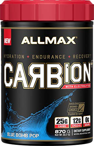 ALLMAX Nutrition Carbion+, Maximum Strength Electrolyte and Hydration Energy Drink, Blue Bomb Pop, 870g