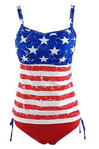 ba6d296f855 Women Swimwear USA Flag Two-Piece Swimsuit Halter Push Up Padded Tankini  Sets size XL (Flag)