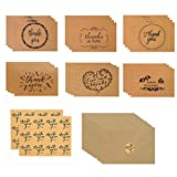 """Brown Kraft Paper Thank You Cards, 24 Pack Rustic Vintage Thank U Greeting Cards W/Envelopes and Stickers for Wedding, Bridal & Baby Shower, Thanksgiving Day, Graduation, Funeral, Business (4"""" x 6"""")"""
