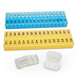 31-Day Color Coded Pill and Vitamin Box Case with Free Pill Splitter & Travel Pill Box (31 Day)
