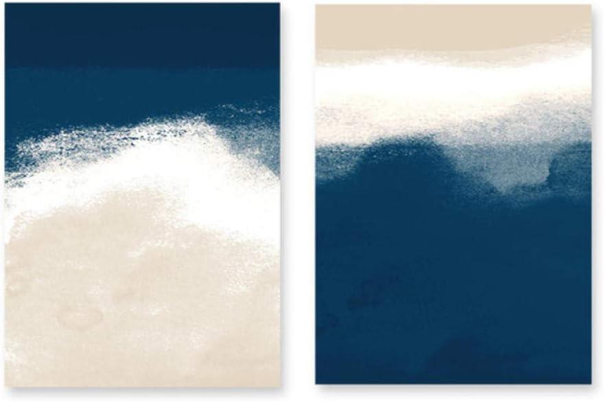 Azul Marino Beige Cuadros Abstractos Lienzo Pintura Galería Arte de la Pared Carteles e Impresiones para la Sala de Estar Decoración del hogar 50x70 (tamaño) sin Marco