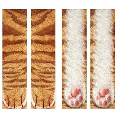 Eurobuy Animal Paw Socks 3D Print Animal Foot Hoof Paw Feet Crew Socks Adult Digital Simulation Socks Unisex Tiger Dog Cat Sock (Golden Cat) -