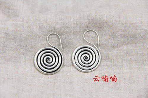 usongs Yunnan and Guizhou national wind personality do old compact disc earrings retro fashion Miao silver earrings -