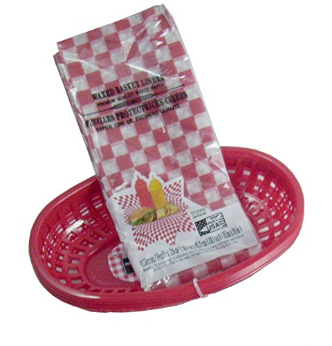 BBQ Party Red Deli Baskets & Waxed Gingham Basket Liners (4 Basket and 16 Tray Liners) (Party Basket)