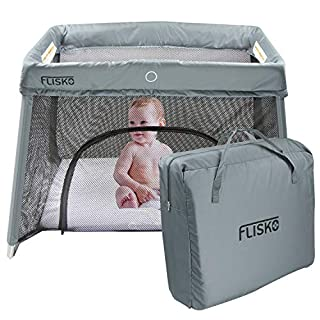 FLISKO'S ALL-IN-ONE TRAVEL CRIB IS THE MOST CONVENIENT, VERSATILE SOLUTION FOR PARENTS EVERYWHERE.   Getting your little one settled in for the night is a cinch with Flisko's bassinet  Perfect for travel, this folding portable crib is a simple and ef...