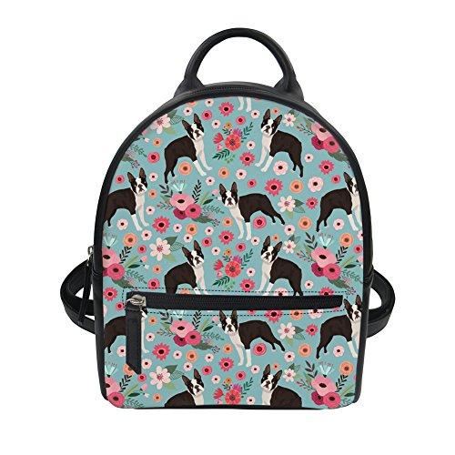 ThiKin Sac à dos Sac à bandoulière en Cuir PU Cartoon Chien Impression Mini-sac à Dos Sacs Loisir Casual 8 Multicolor