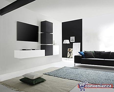 Web Convenienza Cube 3 P Rovere Grigio e Grigio Scuro Opaco Parete Attrezzata Soggiorno Moderna Porta TV