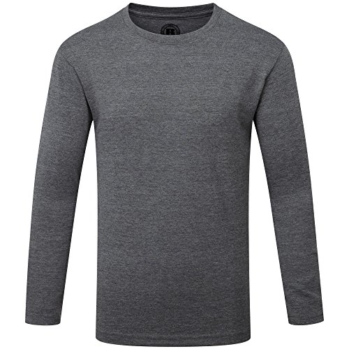 (Russell Childrens/Boys Long Sleeve HD T-Shirt (7-8 Years) (Grey Marl) )
