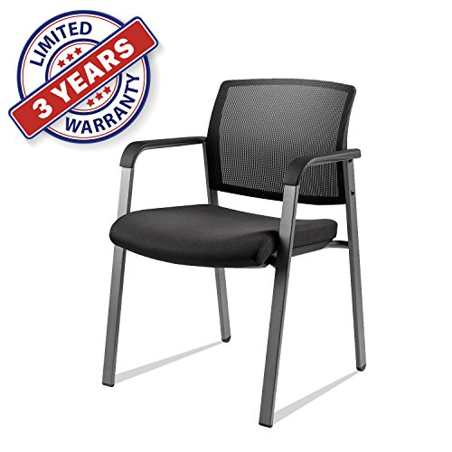 Upholstered Mesh Stacking Chairs with Arm Lumbar Support and Cushion Seat for Guest Reception Home Office (1) (Guest Seat Office)