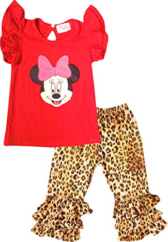 Boutique Baby Girls Cartoon Minnie Animal Print Leopard Cheetah Ruffles Top Capri Set Red 3-6M/4XS