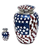 Enshrined Memorials Cremation Urn for Ashes - Valiance Series Affordable Solid Brass Quality Handcrafted for Human Funeral Burial Large 10 inch & Keepsake Bundle, American Flag