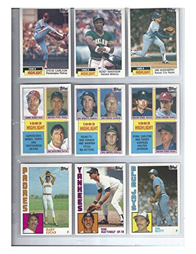 (1984 Topps Baseball Complete 792 Card Set In Binder & Pages Don Mattingly Rookie)