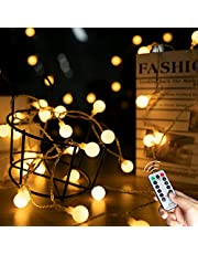 33 FT 100 LED Globe Ball String Lights, Fairy String Lights Plug in, 8 Modes with Remote, Decor for Indoor Outdoor Party Wedding Christmas Tree Garden (Warm White)