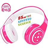 Kids Headphones Bluetooth Wireless On Ear Headset for Children Boys Girls with Built-in Mic Stereo Sound 3.5mm Audio Jack Cable for PC Tablet Cellphone(Pink)