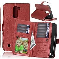 LG K10 Case, LG Premier LTE Case, SUMOON Luxury Fashion PU Leather Magnet Wallet Credit Card Holder Flip Case with Built-in 9 Card Slots & Stand For LG K10 / LG Premier LTE (Brown)