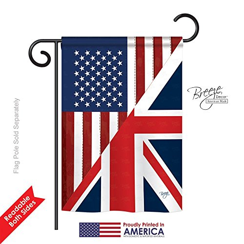 Breeze Decor - US UK Friendship Flags of the World - Everyday Impressions Decorative Vertical Garden Flag 13
