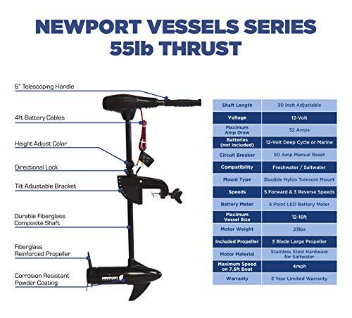 Newport Vessels NV-Series 55lb Thrust Saltwater Transom Mounted Trolling Electric Trolling Motor w/ LED Battery Indicator & 30 Shaft