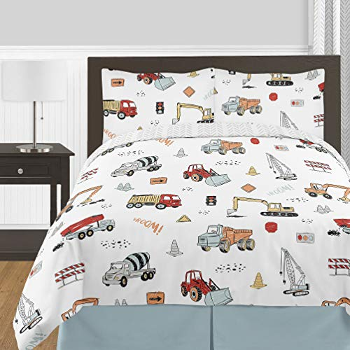 Sweet Jojo Designs Construction Truck Boy Full/Queen Size Kid Childrens Bedding Comforter Set – 3 Pieces – Grey Yellow Orange Red and Blue Transportation Chevron Arrow