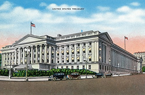 (Washington DC - Exterior View of the US Treasury Building (9x12 Art Print, Wall Decor Travel Poster))