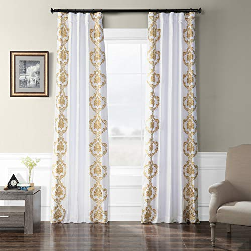 HPD Half Price Drapes EFSCH-18051A-96 Embroidered Faux Silk Taffeta Curtain 50 x 96 Anastasia Gold