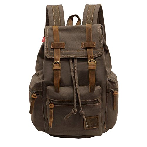Canvas Backpack, P.KU.VDSL-AUGUR SERIES Vintage Canvas Leather Backpack, Hiking Daypacks, Computers Laptop Backpacks, Unisex Casual Rucksack Satchel Bookbag, Mountaineering Bag for Men