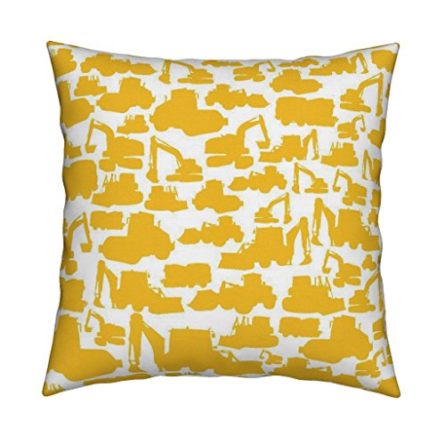 Roostery Boys Eco Canvas Throw Pillow Boys Toys Yellow White by Smuk Cover and Insert Included by (Eco Truck Excavator)