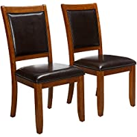 Coaster Home Furnishings  Nelms Classic Modern Transitional Upholstered Seat and Back Dining Side Chair ( Set of 2 ) - Dark Brown Faux Leather