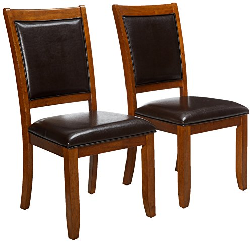 - Nelms Upholstered Side Chairs Deep Brown and Black (Set of 2)