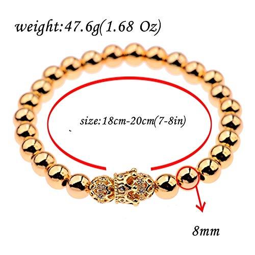 ALISETHEL Copper Bracelet for Men Oiquei 2pcs/Set Couple Bracelets for Women Men 2019 Gold 8mm Copper Bead&cz Crown Beaded Charm Bnagles Bracelet Luxury Jewelry by ALISETHEL (Image #6)