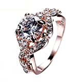 SKCUTE Luxu White Ring Rose Gold Filled Promise Wedding Engagement Rings And Love Jewelry