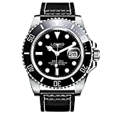 LOREO Mens GMT Rotating bezel Silver Stainless Steel Case Sapphire Automatic Black Leather Watch