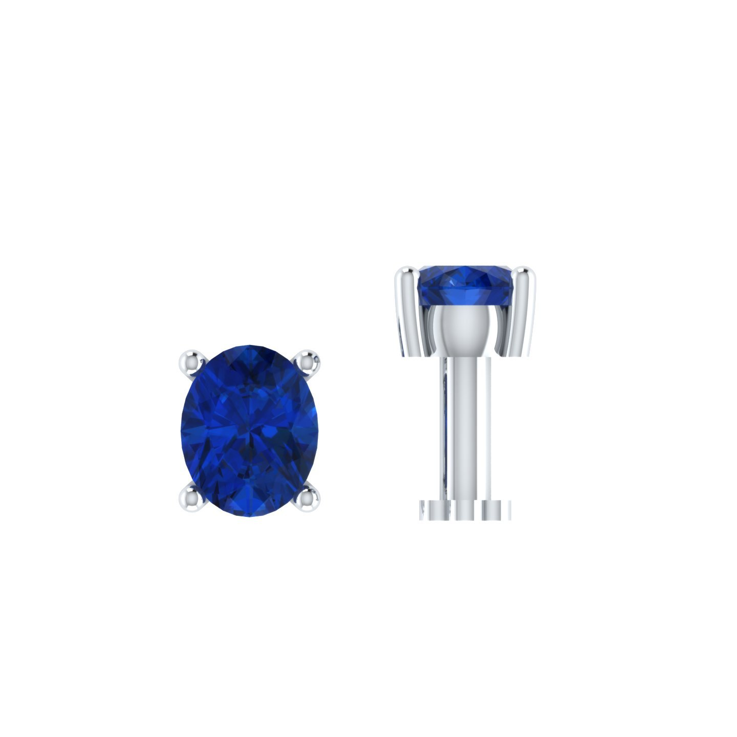 Silvernshine Jewels 0.15 Ct Sapphire Solitaire Nose Bone 925 Sterling Silver Screw Stud Piercing Ring Pin