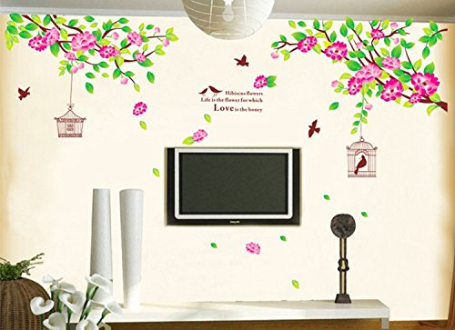 HomDECOR Easy Removable Wall Decal Branch Pink Flowers Birds Hibiscus Flowers Love Quote Vinyl Stickers Living Room Baby and Nursery Room Decor ()