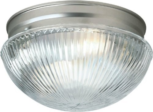 Forte Lighting 6036-01-55 Traditional 1 Light Flush Mount, Brushed Nickel Finish with Clear Ribbed Glass by Forte Lighting