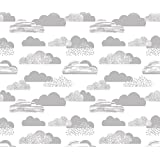 Clouds Fabric - Clouds White Grey Baby Nursery Fabric Clouds Fabric Light Grey Fabric Clouds Nursery Cute Painted by charlottewinter - Printed on Linen Cotton Canvas Fabric by the Yard