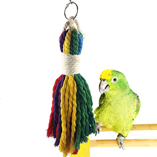 BWOGUE Colorful Rope Bird Toy - Pet Bird Cage Toy for Chewing and preening fit Small to Medium Birds