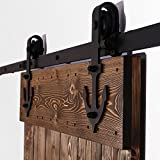 CCJH Country Classic Steel Anchor-Shaped Interior Sliding Barn Door Hardware Wood Door Kit 8 Ft/97inch Black