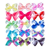 YLQHT 4.5'' Bows Girls Ribbon Boutique Big Hair Bow Clips Baby Girl Teens Kids Toddlers Pack of 15 (Rainbow)