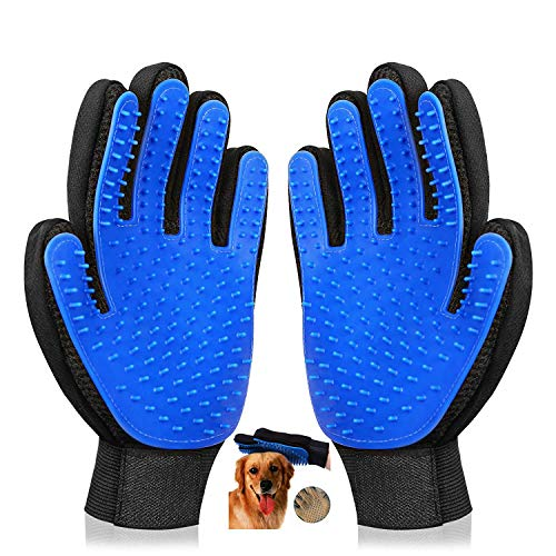 Koeson Pet Grooming Glove, Gentle Pet Deshedding Brush Gloves, Efficient Pet Hair Remover, Pet Massage Mitt for Dog & Cat with Long & Short Fur, 1 Pair (Blue) (Magic Gloves 1)