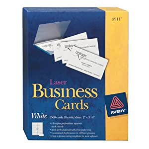 Avery Laser Business Cards, 2 x 3.5-Inches, White, Box of 2500 Cards (5911)