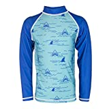 Oakiwear Kid's Coastal Rash Guard with Nylon/Spandex UV Protection 50+ UPF, Short Sleeve, Chomp-Chomp Shark 10/11